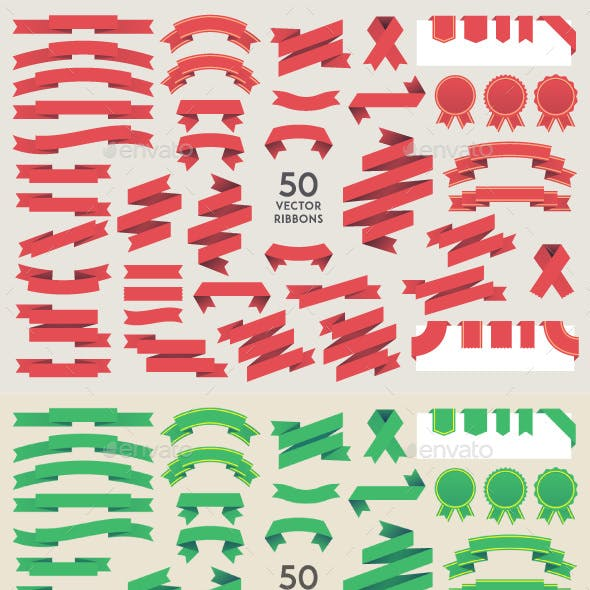 Set of 50 Vector Ribbons in Four Colors