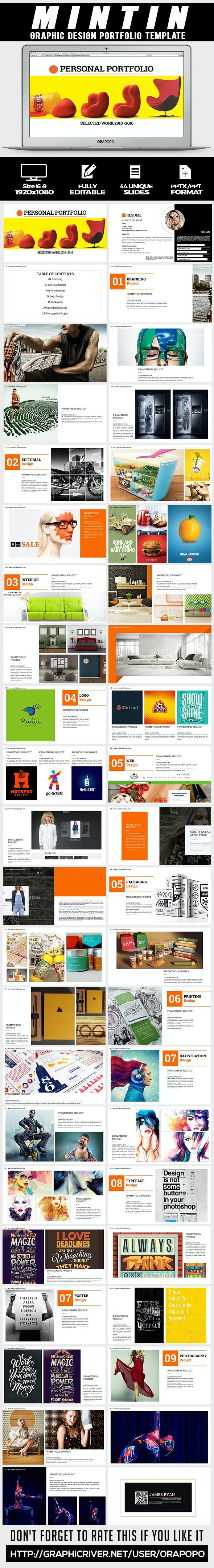 Mintin ~ Graphic Design Portfolio Template - Creative PowerPoint Templates