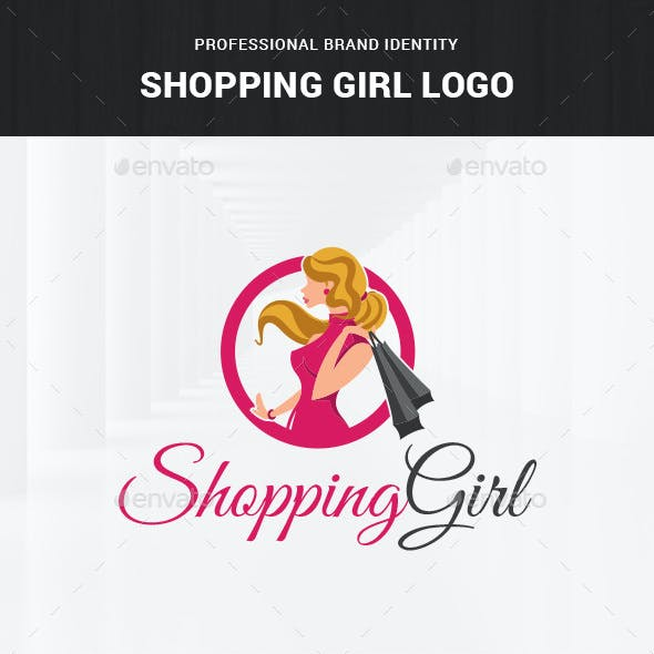 Shopping Girl Logo Template
