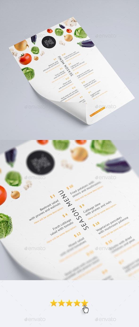 Season Menu Template A4 - Food Menus Print Templates