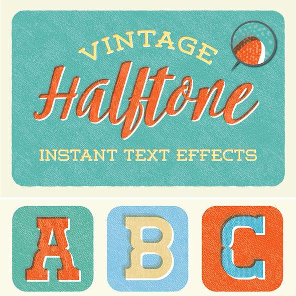 Instant Vintage Halftone Text Effects