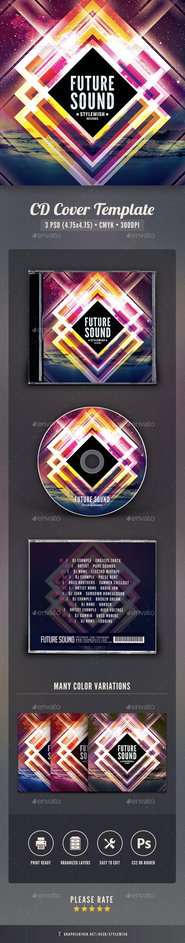 Future Sound CD Cover Artwork - CD & DVD Artwork Print Templates