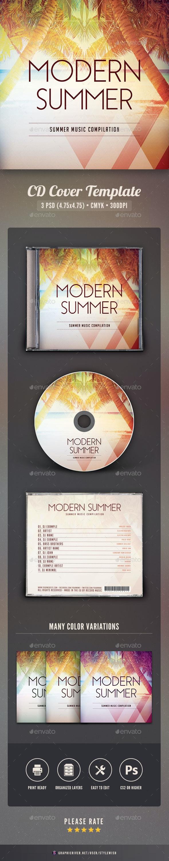 Modern Summer CD Cover Artwork - CD & DVD Artwork Print Templates