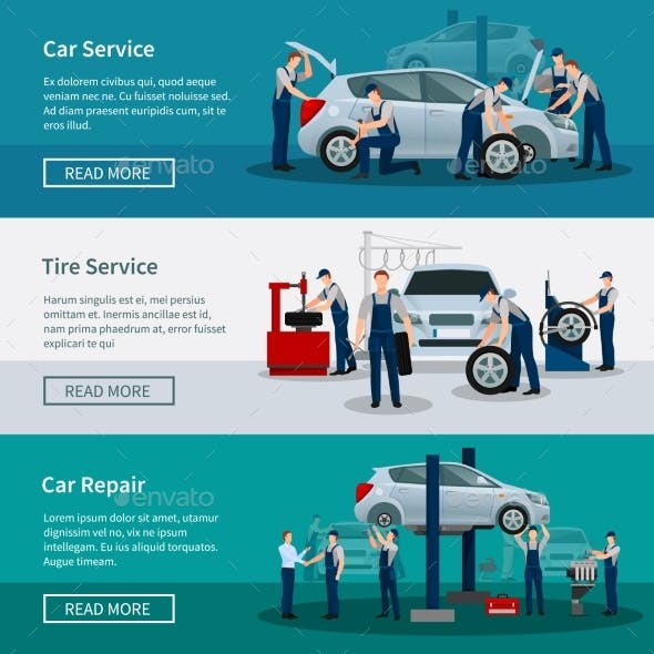 Horizontal Banners of Car Service