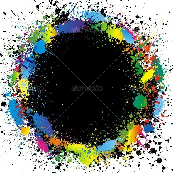 Color paint splashes border. Vector background - Backgrounds Decorative