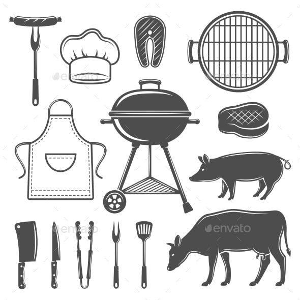 BBQ Decorative Graphic Flat Icons Set