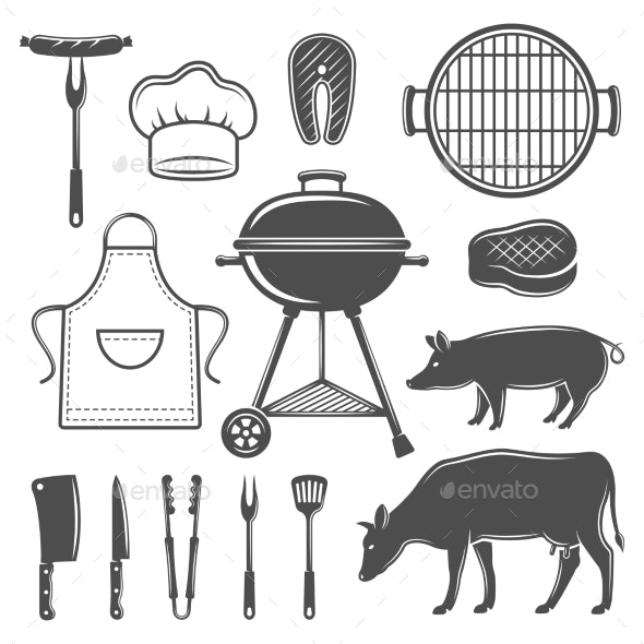 BBQ Decorative Graphic Flat Icons Set  - Miscellaneous Vectors