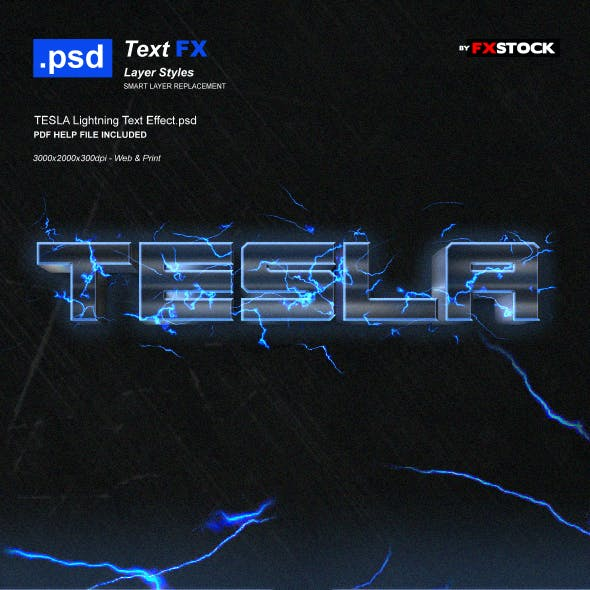 TESLA Lightning Text Effect