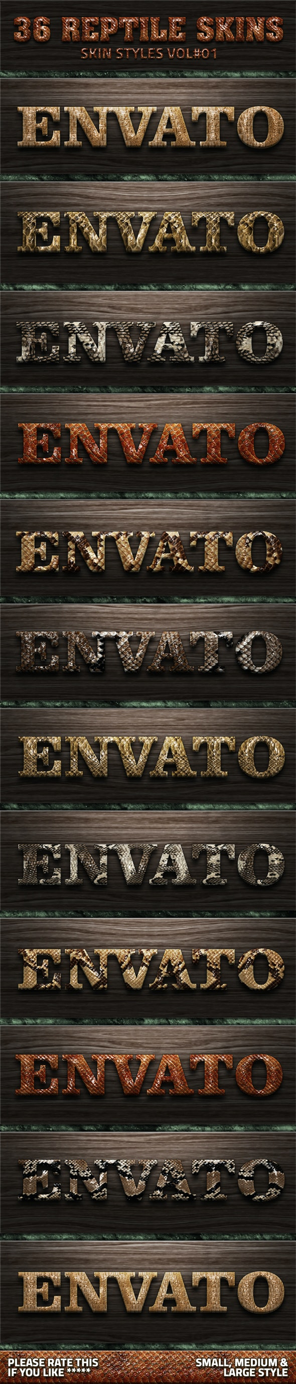 36 Reptile Skin Styles V01 - Text Effects Styles