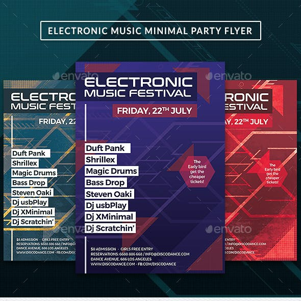 Electro Music DJ Minimal Party Flyer Template