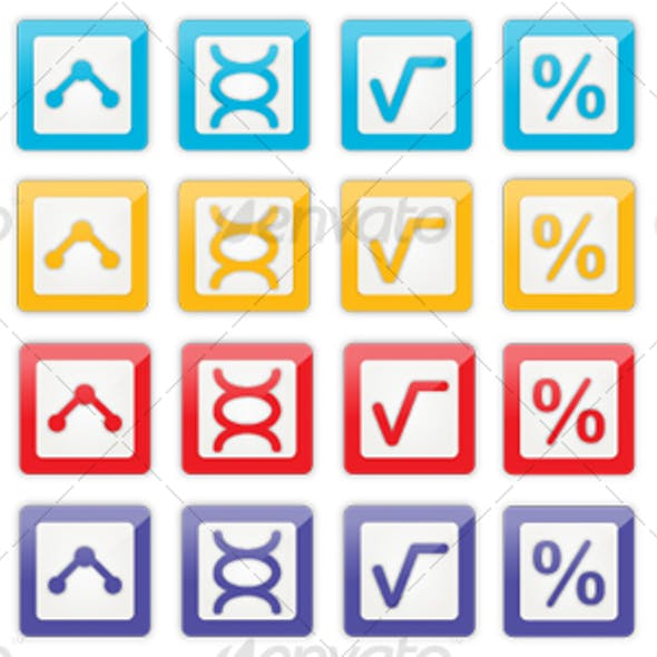 36 Red, Purple, Yellow and Blue Lab Science Icons