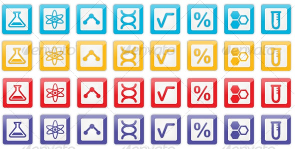 36 Red, Purple, Yellow and Blue Lab Science Icons - Web Icons
