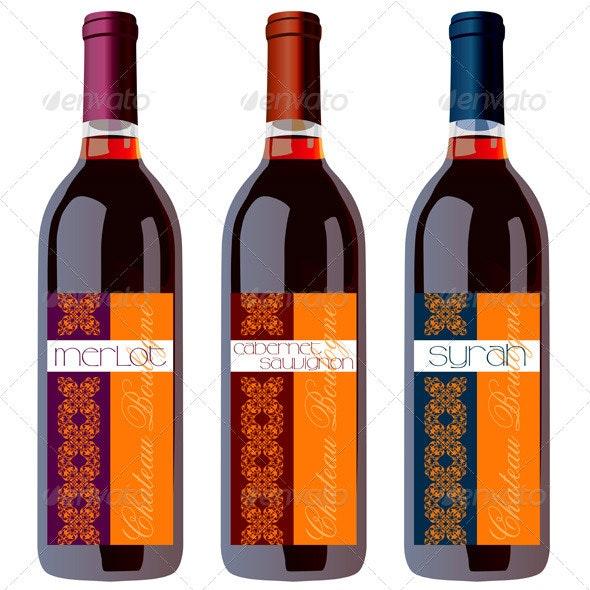 Wine Bottles Set with Vintage Labels - Decorative Vectors