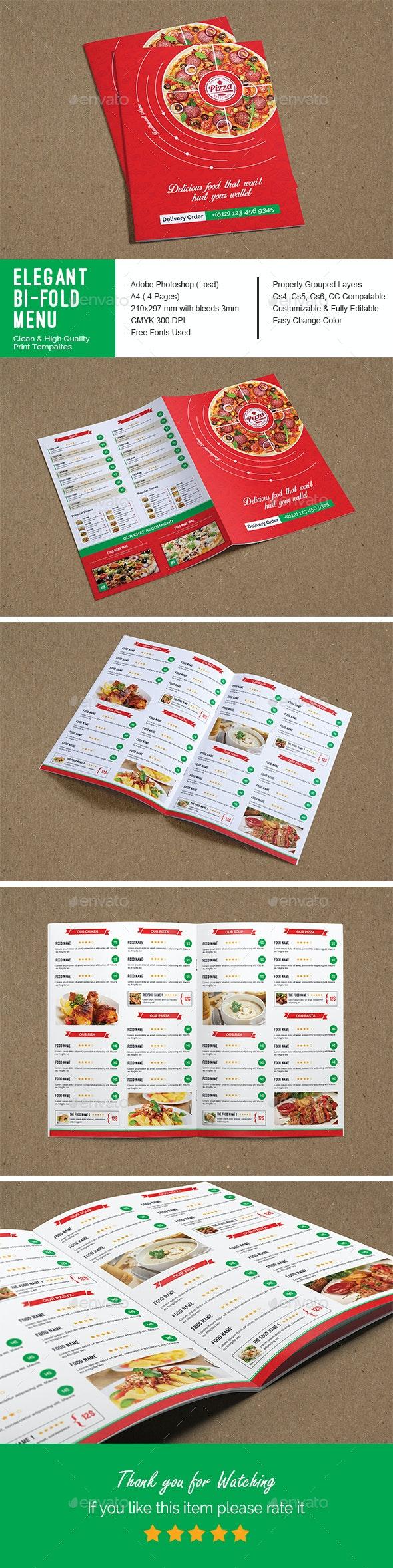 Elegant Bi-Fold Restaurant Menu  - Food Menus Print Templates