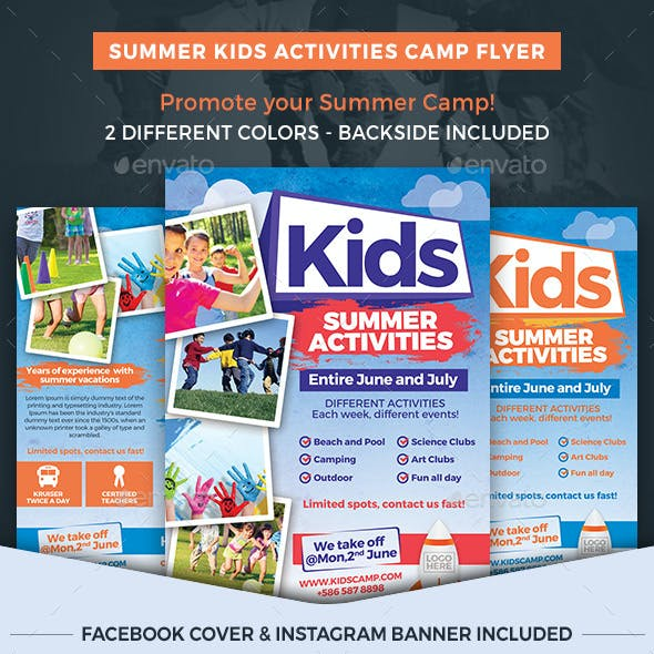 Summer Kids Activities Camp Flyer Template
