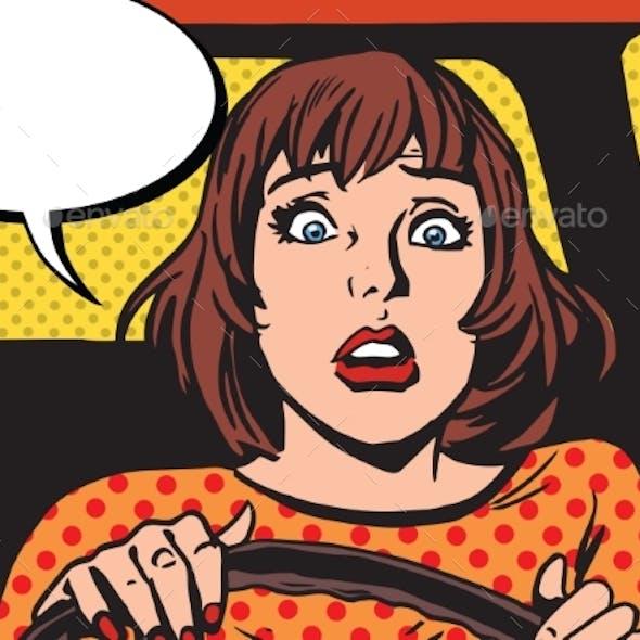 Retro Girl Scared Driver