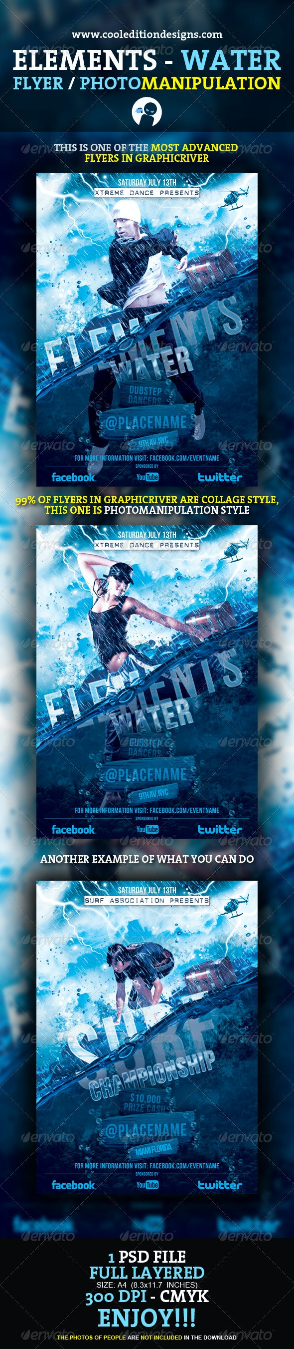 Elements - Water Flyer / Photomanipulation - Clubs & Parties Events