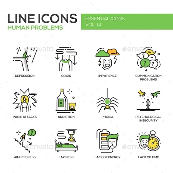 Human Psychological Problems- Line Design Icons