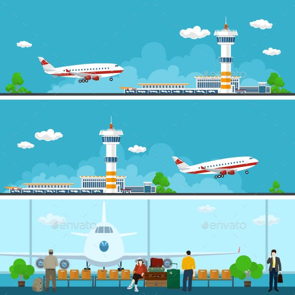 Airport  Banners, Travel Concept