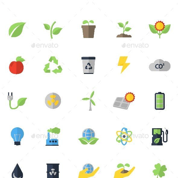 Vector Flat Eco Icons Set
