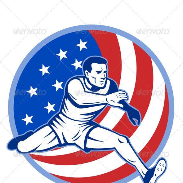 American Athlete Running Hurdle