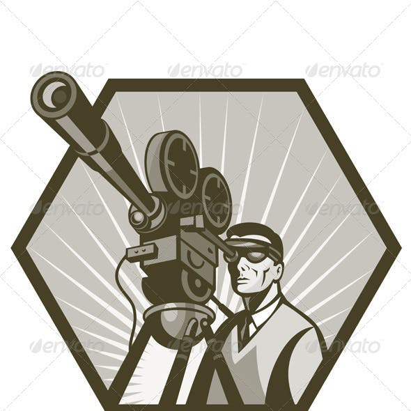Cameraman Holding Movie Camera Shooting