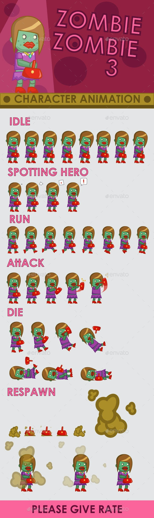 Zombie Enemy Sprite Sheet #3 - Sprites Game Assets