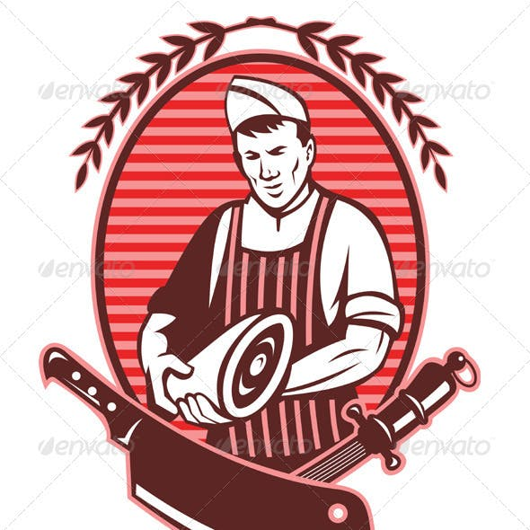 Butcher Holding Meat Knife Retro Style