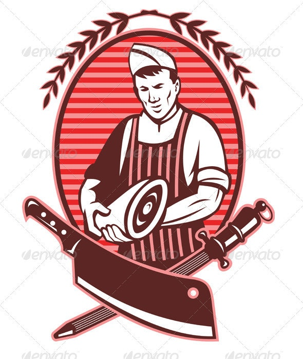 Butcher Holding Meat Knife Retro Style - People Characters
