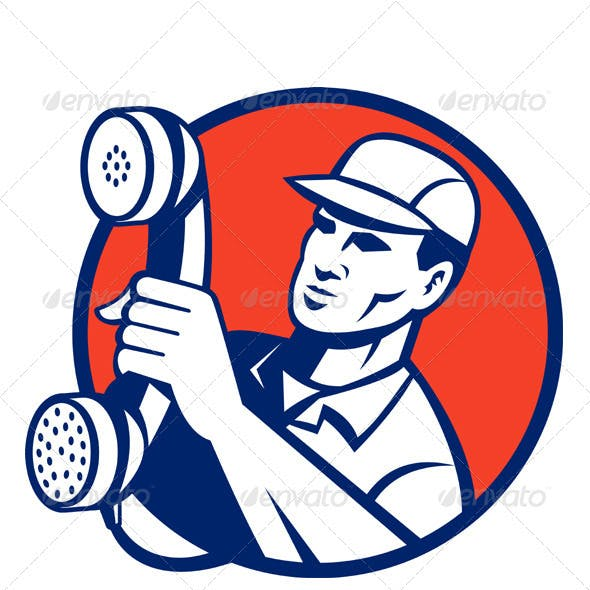 Telephone Repairman Worker Holding Retro Phone