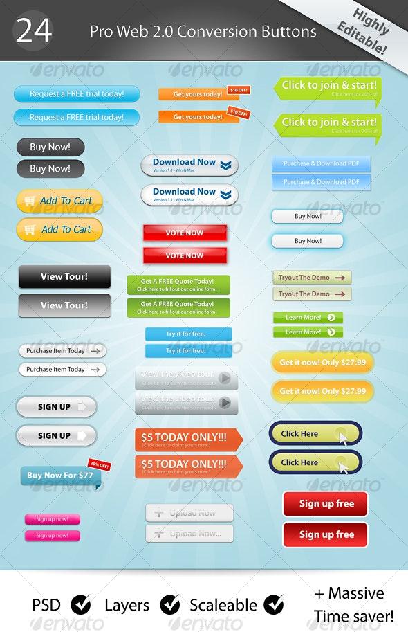 24 Web 2.0 Buttons! - Buttons Web Elements
