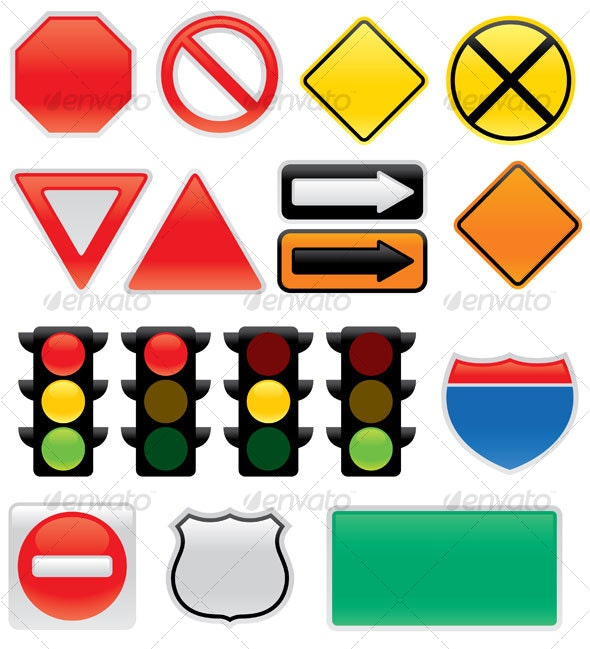 Map And Traffic Signs And Symbols - Travel Conceptual