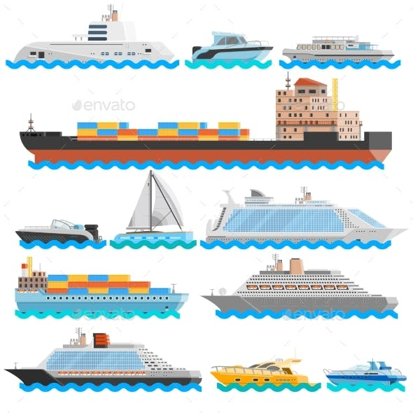 Water Transport Flat Decorative Icons Set