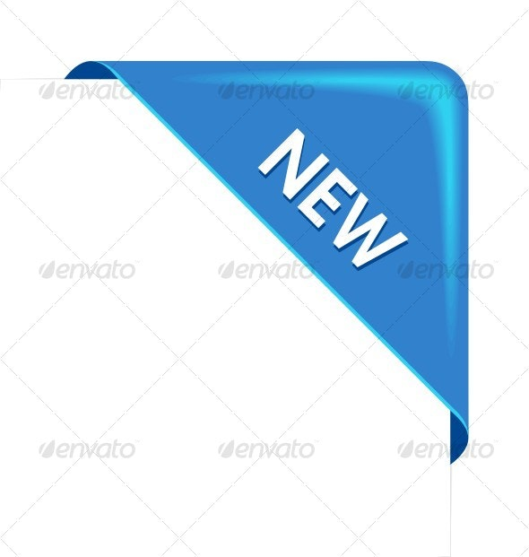 New blue corner business ribbon - Backgrounds Decorative
