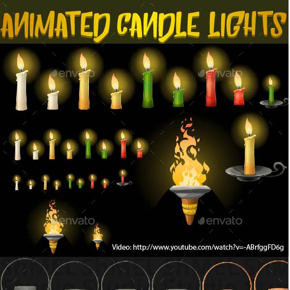 Animation Ready Burning Candles, Torch and Lamps