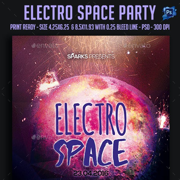 Electro Space Party Flyer