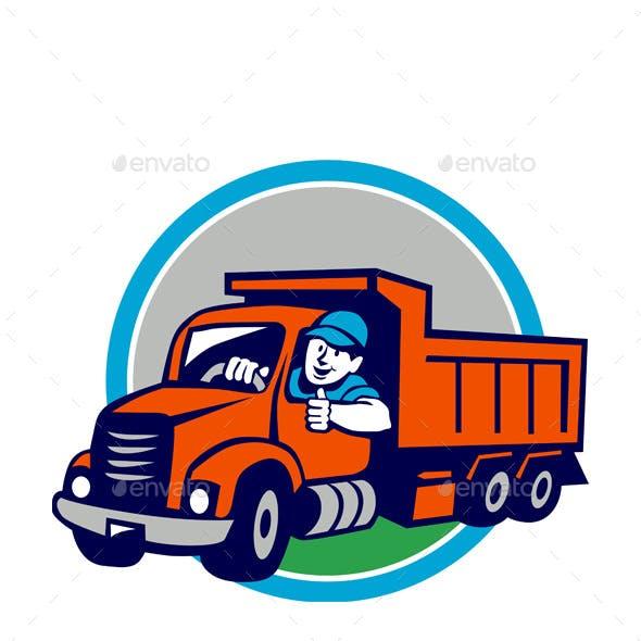 Dump Truck Driver Thumbs Up Circle Cartoon