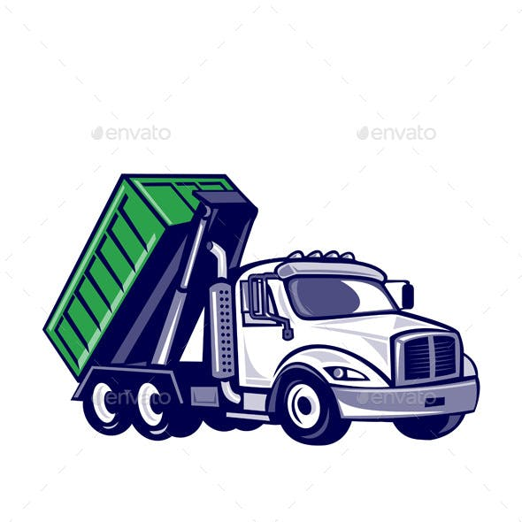 Roll-Off Truck Bin Truck Cartoon