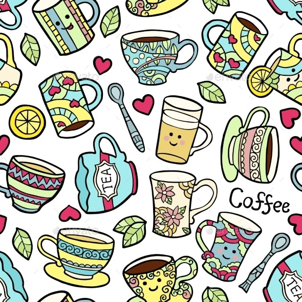 Seamless Pattern With Doodle Tea Accessories - Backgrounds Decorative