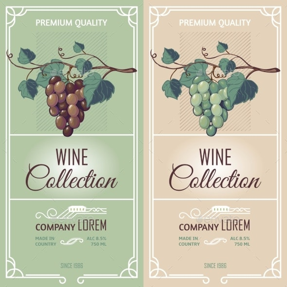 Two Vertical Banners with Wine Labels  - Miscellaneous Vectors