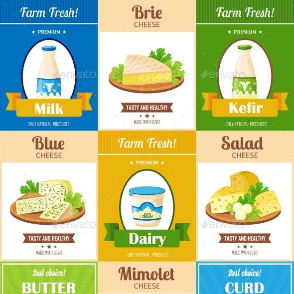 Milk Products Poster Set