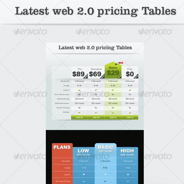Latest Web2.0 Pricing Tables