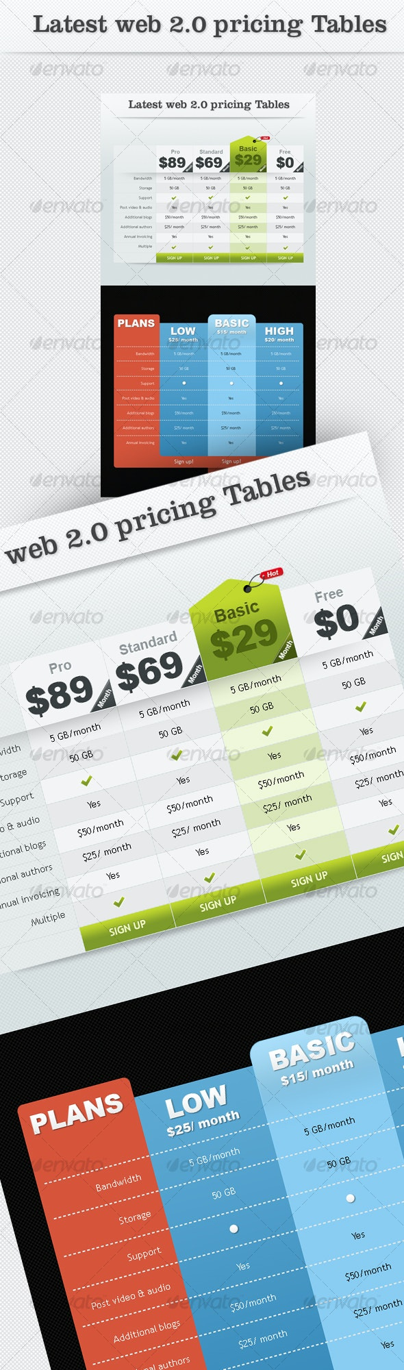 Latest Web2.0 Pricing Tables - Tables Web Elements