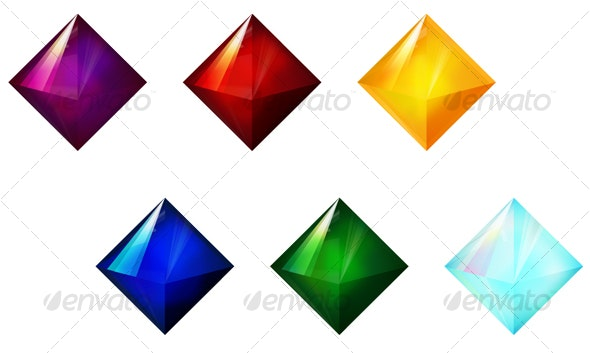 12 Gem / Jewel Icons with Vector File - Objects Icons