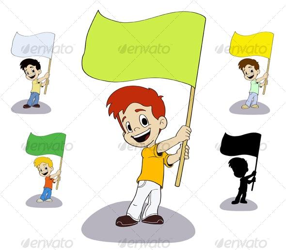 Boy waving flag - People Characters