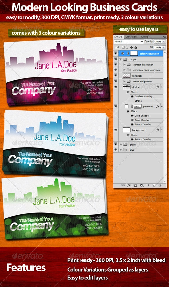 Modern Look Business Cards - Corporate Business Cards