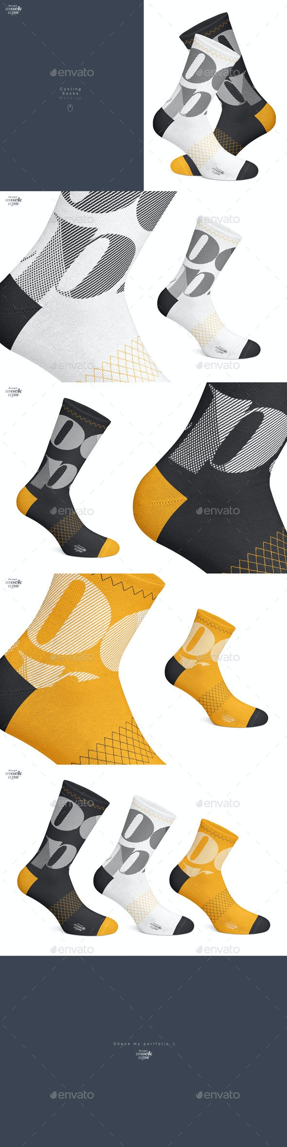 Cycling Socks 3 Types Mockup - Miscellaneous Apparel