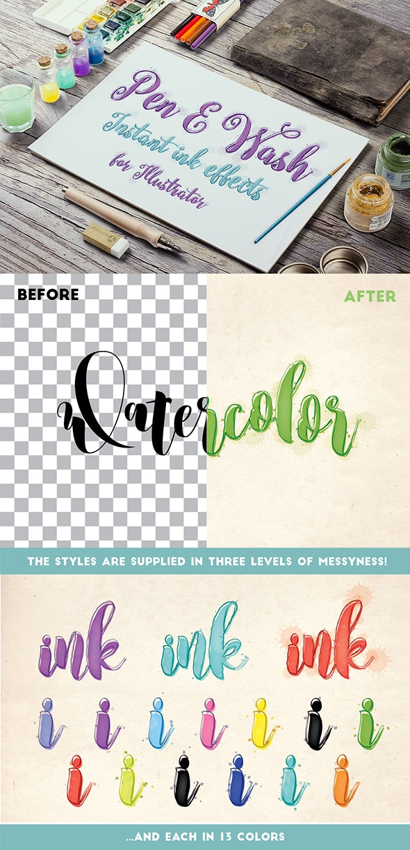 Pen and Wash: Instant Ink Effects for Illustrator - Styles Illustrator