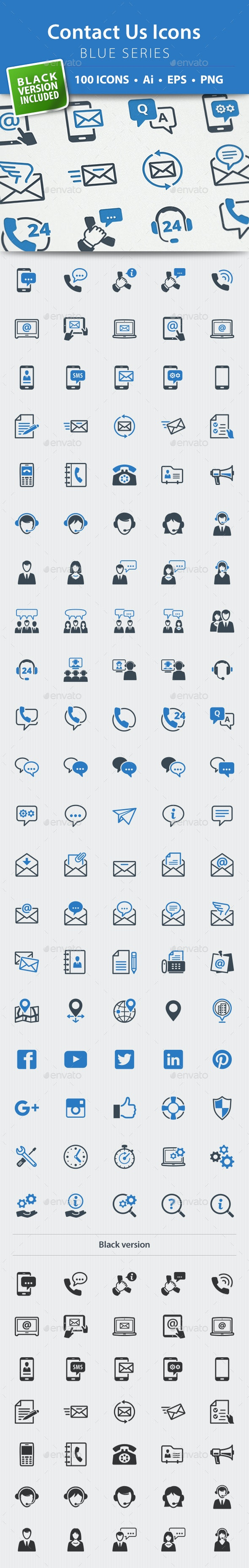 Contact Us Icons - Blue Series - Web Icons