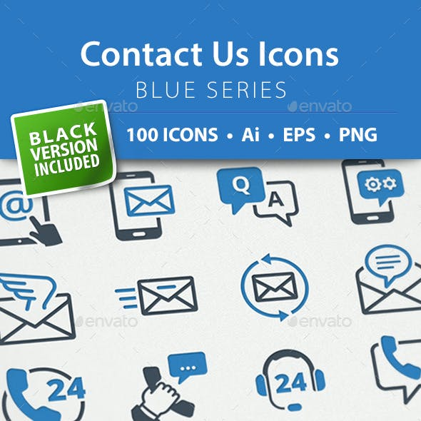 Contact Us Icons - Blue Series